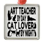 Cat Lover Art Teacher Christmas Tree Ornaments