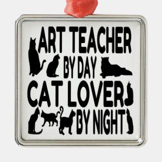 Cat Lover Art Teacher Metal Ornament