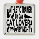 Cat Lover Athletic Trainer Square Metal Christmas Ornament