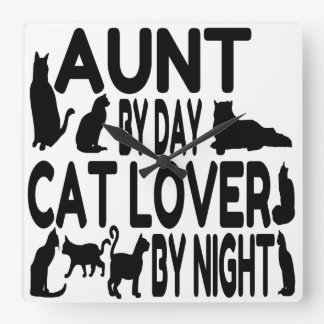 Cat Lover Aunt Square Wall Clock