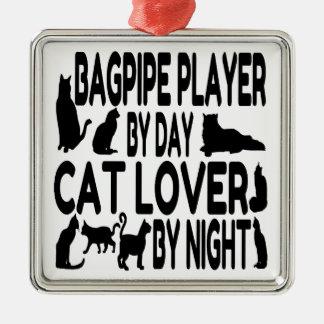 Cat Lover Bagpipe Player Metal Ornament