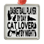 Cat Lover Basketball Player Square Metal Christmas Ornament