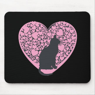 Cat Lover, black cat on pink hearts Mouse Pad