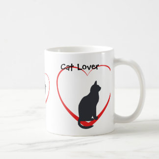 Cat lover, black cats in open red hearts coffee mug