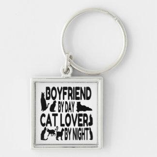 Cat Lover Boyfriend Silver-Colored Square Keychain