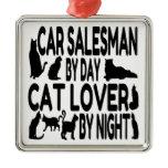 Cat Lover Car Salesman Square Metal Christmas Ornament