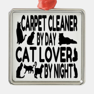 Cat Lover Carpet Cleaner Square Metal Christmas Ornament