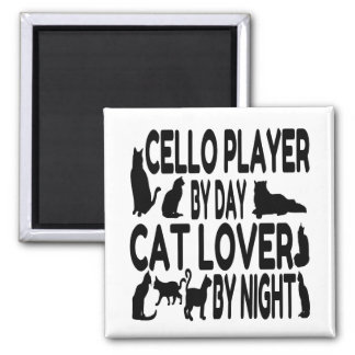 Cat Lover Cello Player 2 Inch Square Magnet