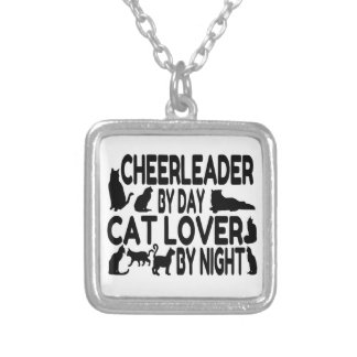 Cat Lover Cheerleader Silver Plated Necklace