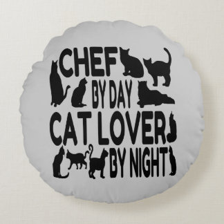 Cat Lover Chef Round Pillow