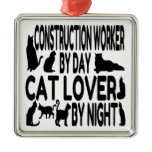 Cat Lover Construction Worker Ornament