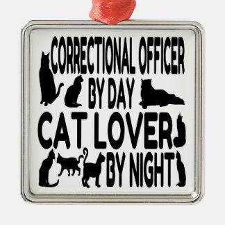 Cat Lover Correctional Officer Square Metal Christmas Ornament