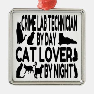 Cat Lover Crime Lab Technician Metal Ornament