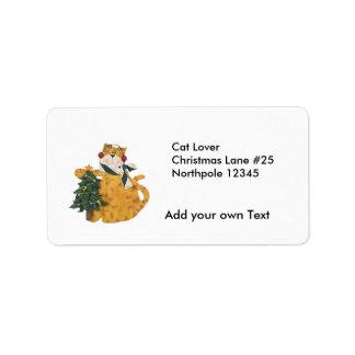 Cat Lover Cristmas Address Return Avery Label