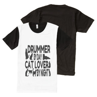 Cat Lover Drummer All-Over Print Shirt
