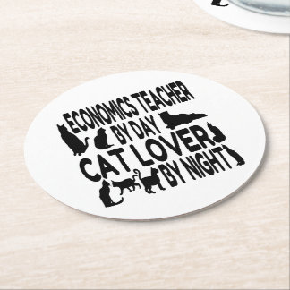 Cat Lover Economics Teacher Round Paper Coaster