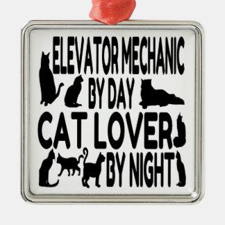 Cat Lover Elevator Mechanic Metal Ornament