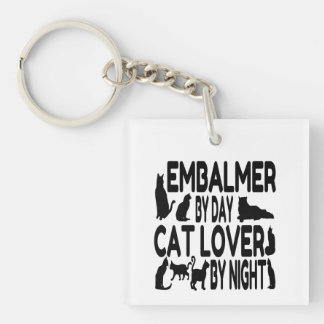 Cat Lover Embalmer Double-Sided Square Acrylic Keychain