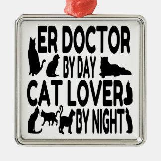 Cat Lover ER Doctor Metal Ornament