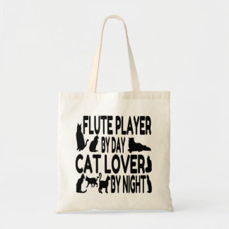 Cat Lover Flute Player Canvas Bags
