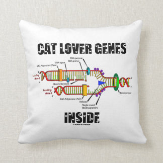 Cat Lover Genes Inside (DNA Replication) Throw Pillows