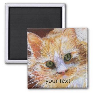 Cat Lover Gift Orange Cat Face Portrait Fine Art 2 Inch Square Magnet
