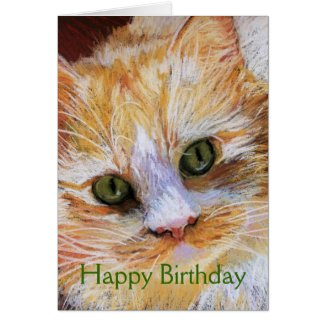 Cat Lover Gift Orange Cat Face Portrait Fine Art Card