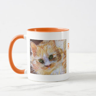 Cat Lover Gift Orange Cat Face Portrait Fine Art Mug
