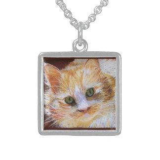 Cat Lover Gift Orange Cat Face Portrait Fine Art Custom Necklace