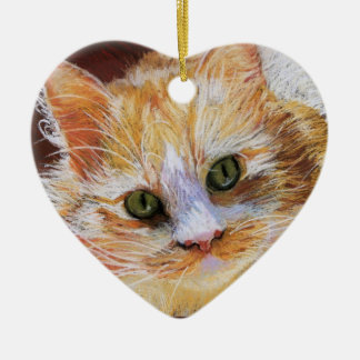 Cat Lover Gift Orange Cat Face Portrait Fine Art Christmas Ornament