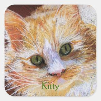 Cat Lover Gift Orange Cat Face Portrait Fine Art Square Sticker