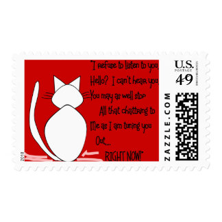 """Cat Lover Gifts """"I Refuse to Listen to You"""" Postage"""
