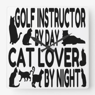 Cat Lover Golf Instructor Square Wall Clock