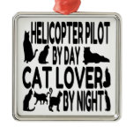 Cat Lover Helicopter Pilot Square Metal Christmas Ornament