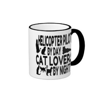Cat Lover Helicopter Pilot Ringer Coffee Mug