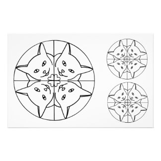 Cat Lover Kaleidoscope Cats Hearts Outline Cutouts Stationery
