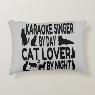 Cat Lover Karaoke Singer Decorative Pillow