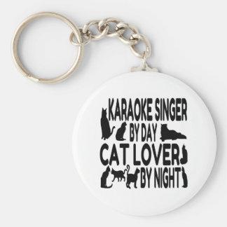 Cat Lover Karaoke Singer Basic Round Button Keychain