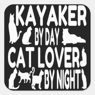 Cat Lover Kayaker Square Sticker