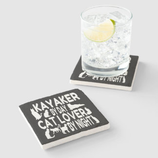 Cat Lover Kayaker Stone Coaster