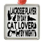 Cat Lover Lacrosse Player Metal Ornament