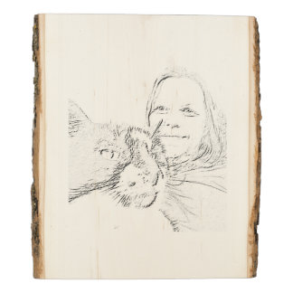 Cat Lover Lady Woman Sketch Drawing Plaque Wood Panel