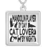 Cat Lover Mandolin Player Square Pendant Necklace