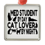 Cat Lover Med Student Square Metal Christmas Ornament