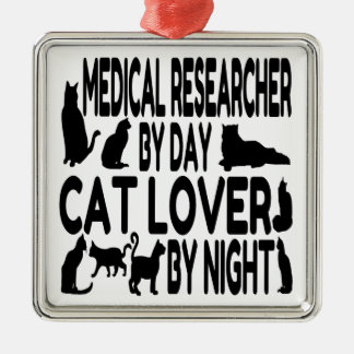 Cat Lover Medical Researcher Metal Ornament