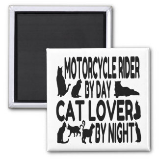 Cat Lover Motorcycle Rider 2 Inch Square Magnet