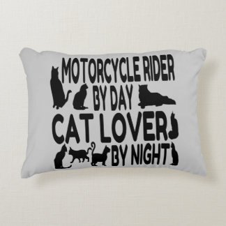 Cat Lover Motorcycle Rider Decorative Pillow