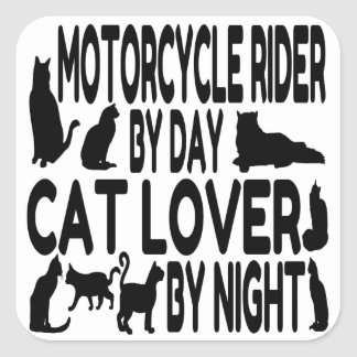 Cat Lover Motorcycle Rider Square Sticker