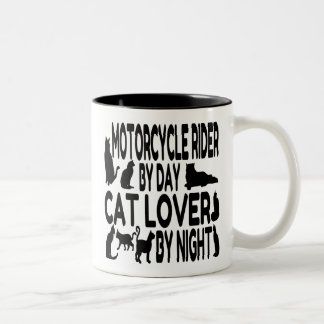 Cat Lover Motorcycle Rider Two-Tone Coffee Mug
