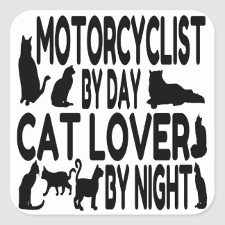 Cat Lover Motorcyclist Square Sticker